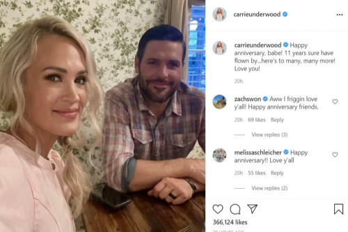 Carrie Underwood marks 11th anniversary with Mike Fisher